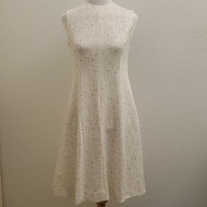 Vintage Ivory and Tan Print Fit and Flare Dress D2